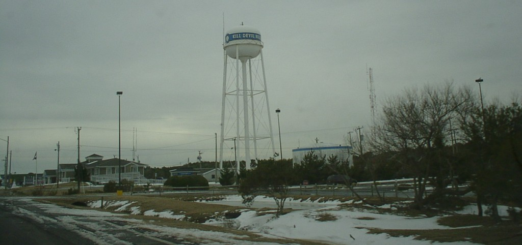 january photo of the water tower at kill devil hills north carolina